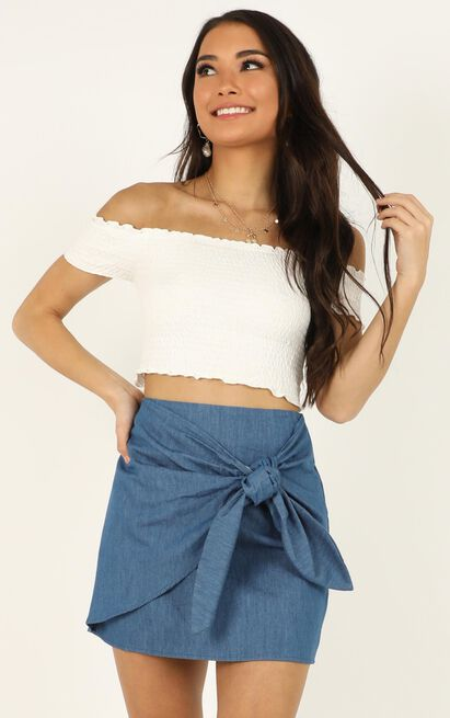 Carry Me On skirt in chambray - 12 (L), Blue, hi-res image number null