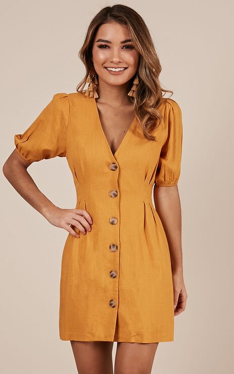 Changing Up Dress In Mustard