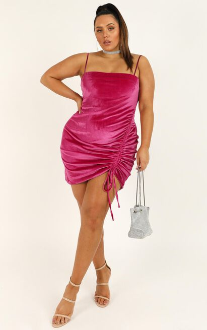 Beyond It Dress In berry velvet - 14 (XL), Pink, hi-res image number null