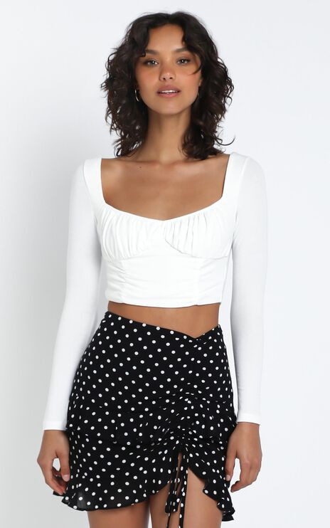 Forgotten Kiss Skirt in Black and White Spot