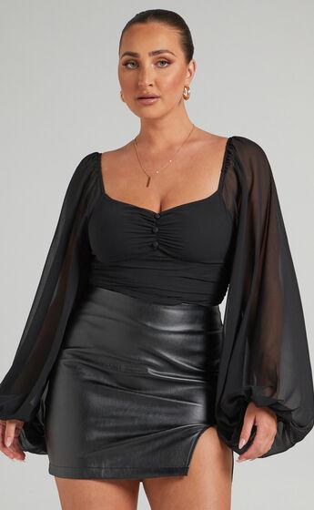 Dermot Balloon Sleeve Bodysuit in Black