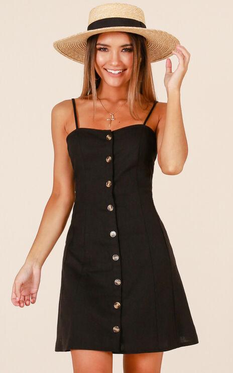 City Girl Dress In Black Linen Look