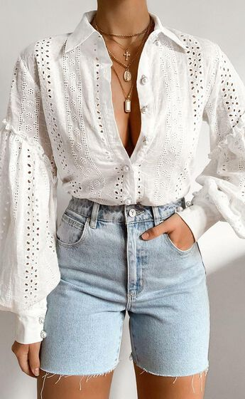 Beautiful Things Embroidery Shirt in White