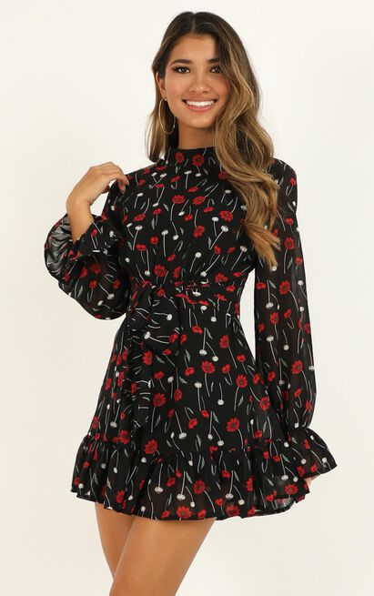 Minus The Fuss Playsuit in black floral - 20 (XXXXL), Black, hi-res image number null