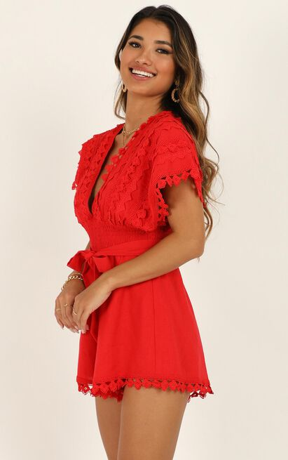 Think Big Playsuit in red linen look - 14 (XL), Red, hi-res image number null