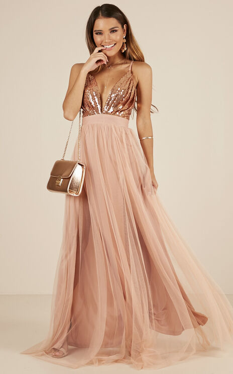 The Last Kiss Maxi Dress In Rose Gold