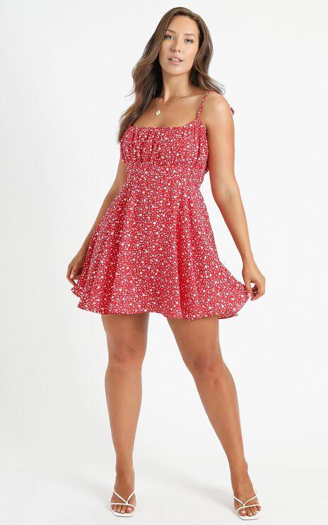 Summer Jam Dress In Red Floral Print