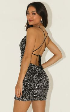 Shimmer Backless Mini Dress In Black Sequin