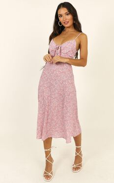 Toss The Dice Dress In Pink Floral