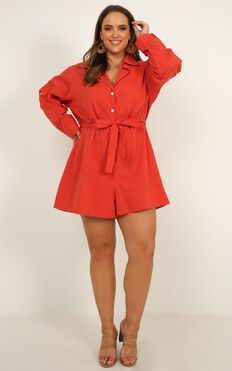 Side Gaze Playsuit In Rust