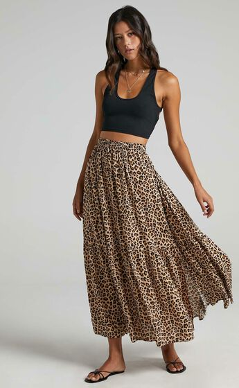 Off To Bali Skirt in Leopard Print