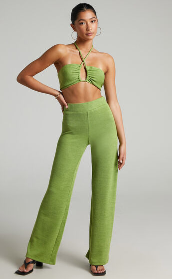 Juliann Knit Two Piece Pant Set with Crop Top in Green