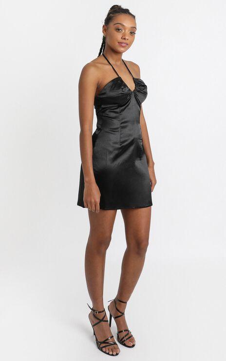 Jones Dress in Black Satin