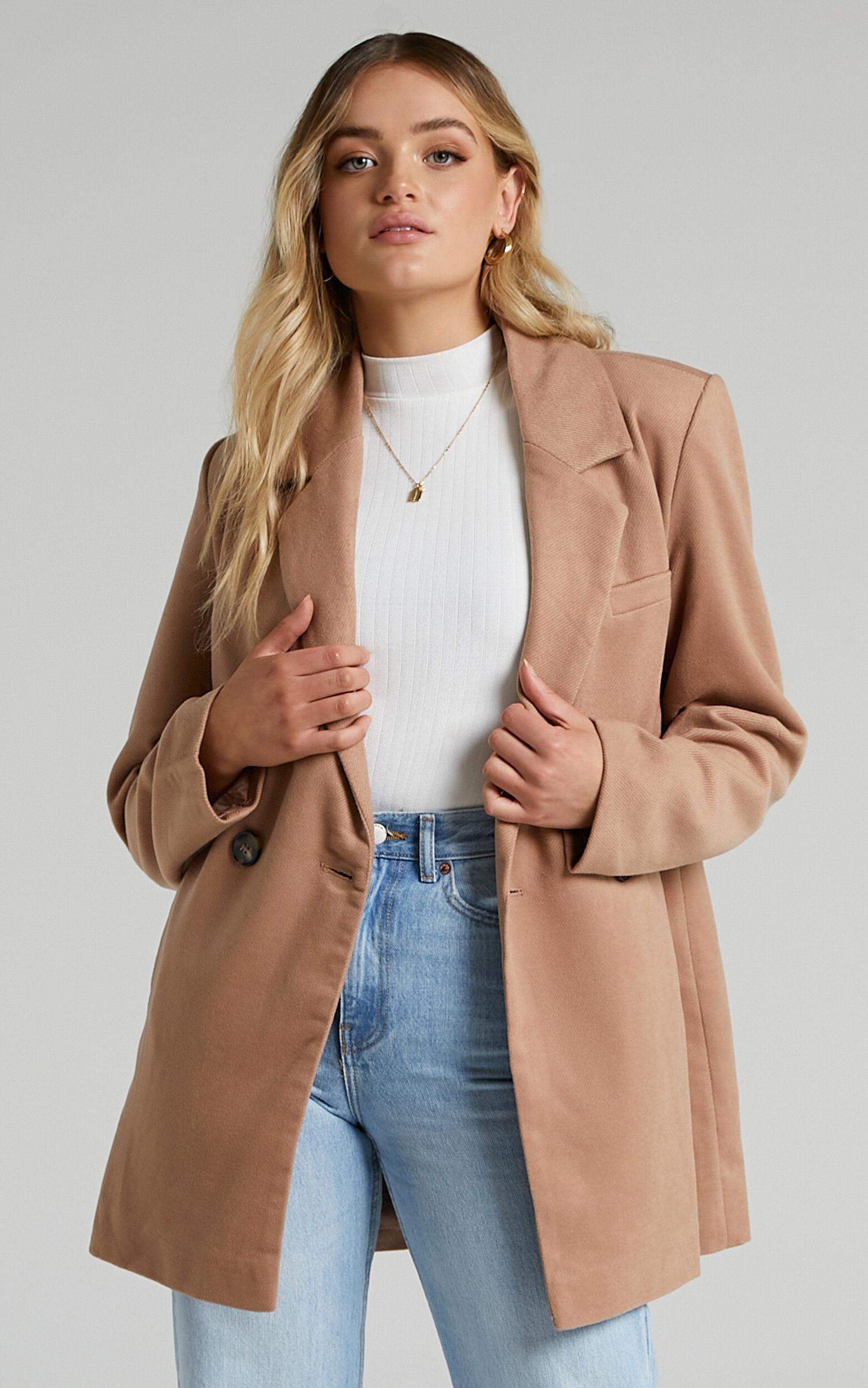 Kora Oversized Button Up Coat in Camel - 06, BRN2, super-hi-res image number null