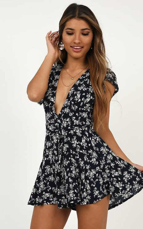River Run Playsuit In Navy Floral