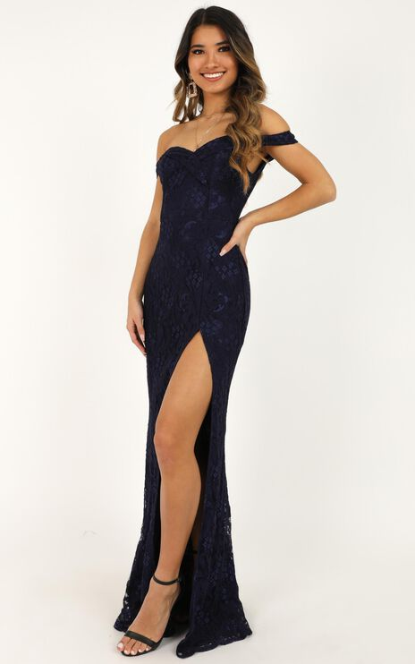 Tell It To The World Dress In Navy Lace