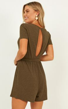 Better Than It All Playsuit In Khaki