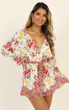 European Sunset Playsuit In White Floral