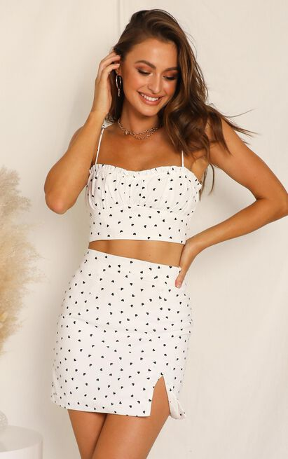Waterlily Two Piece Set In White Heart Print - 14 (XL), White, hi-res image number null
