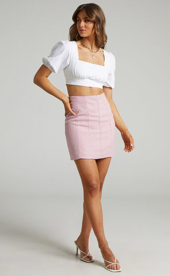Miree Mini Panelled Tweed Skirt in Dusty Pink