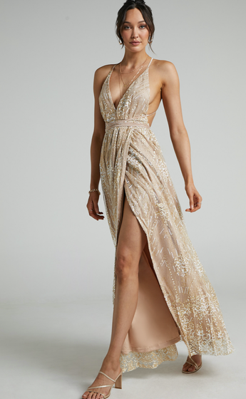 Katniss Plunge Neck Maxi Formal Dress in Champagne Sequin