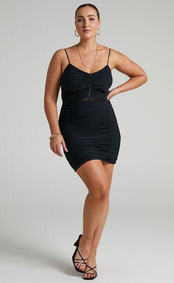 Kansas Ruched Mini Dress in Black Mesh