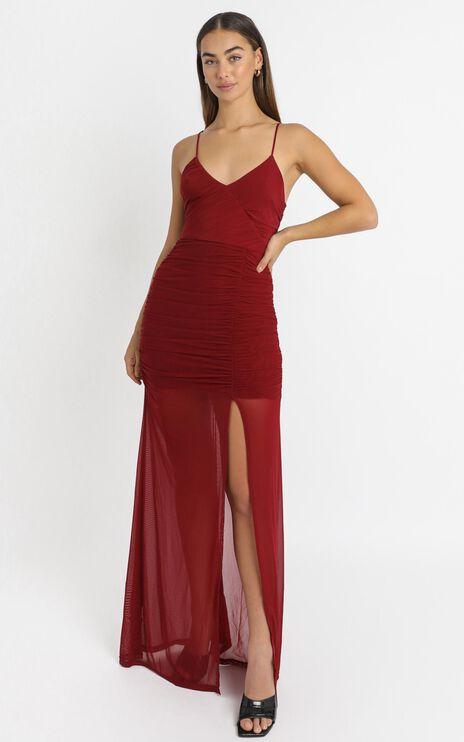 Gigi Dress in Wine Mesh