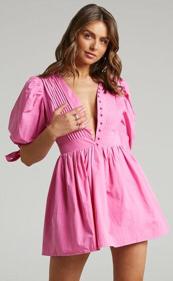 Zandra Puff Sleeve Poplin Mini Dress in ICE PINK