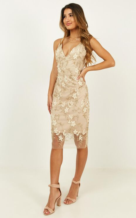 Look Over Here Dress In Gold Floral
