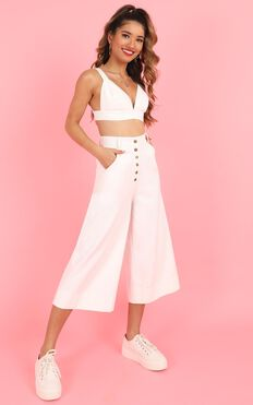 Dont Say A Word Two Piece Set In White Denim