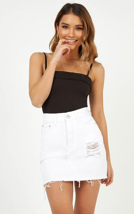 Leaving Home Denim Skirt In White