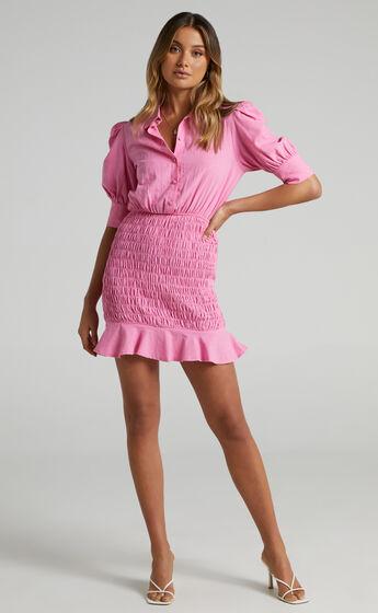Teisha Collared Shirred Mini Dress in Pink