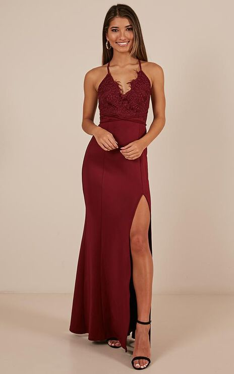 The Icon Maxi Dress In Wine