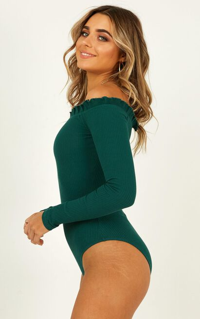 Fresh As A Daisy Bodysuit in emerald rib - 12 (L), Green, hi-res image number null