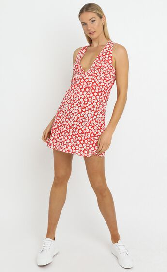 Aster Dress in Red Floral