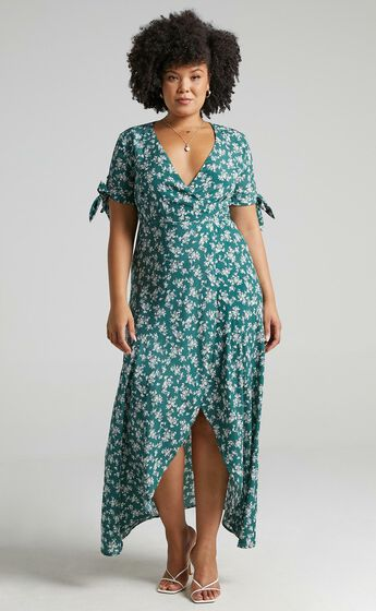 Picking It Up Wrap Maxi Dress in Teal Floral