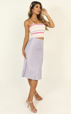 Time Wont Change Me Skirt In Lilac Satin