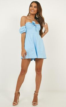 Sweeter Than You Playsuit In Blue Linen Look