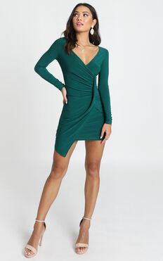 Elle Bodycon Mini Dress In Emerald