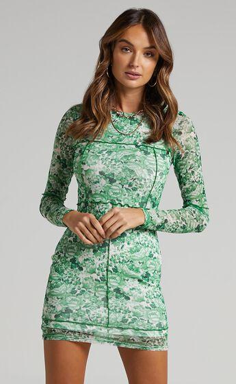 Anakin Long sleeve Mesh Mini dress in Green Furnishing Florals