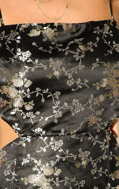Lioness - Supermarket Flowers Dress In Black Floral - 12 (L), Black, hi-res image number null