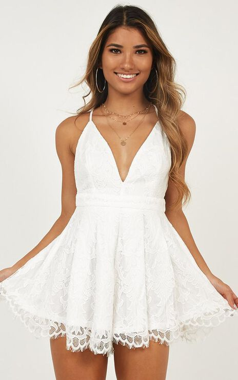 Good Friend Playsuit In White Lace