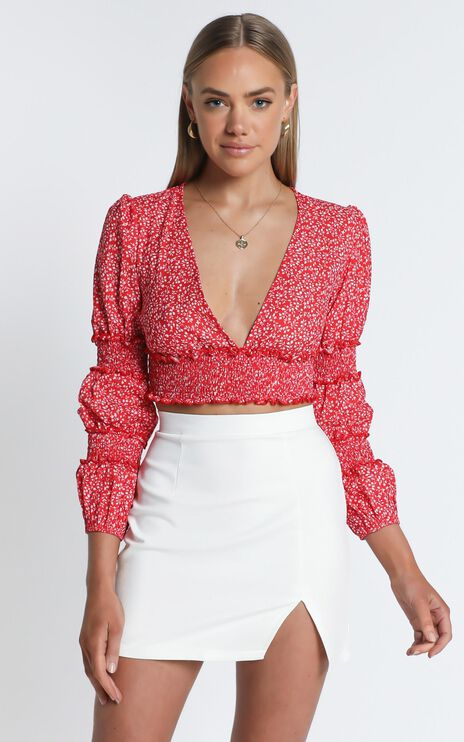 Sweet Wishing Top In Red Floral