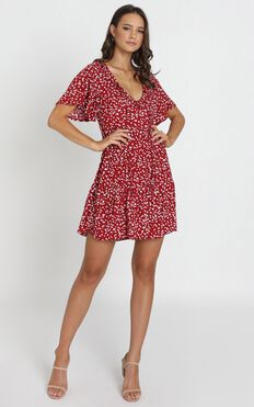 Kirby V-Neck Frill Mini Dress In Red Print