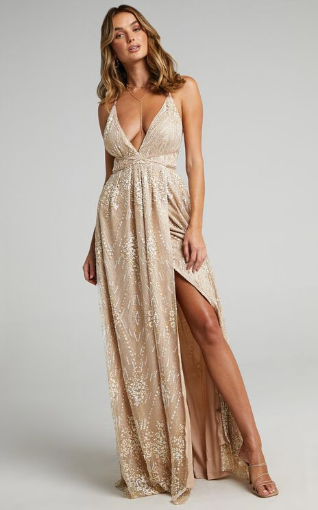 New York Nights Maxi Dress In Gold