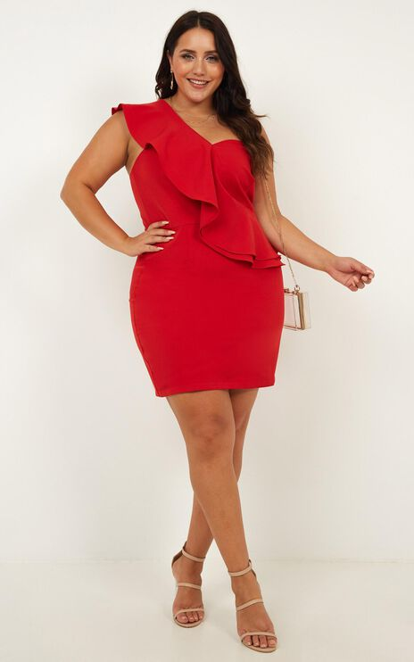 Model On Holiday Dress In Red