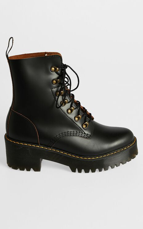Dr. Martens - Leona 7 Hook Boot in Black Vintage Smooth