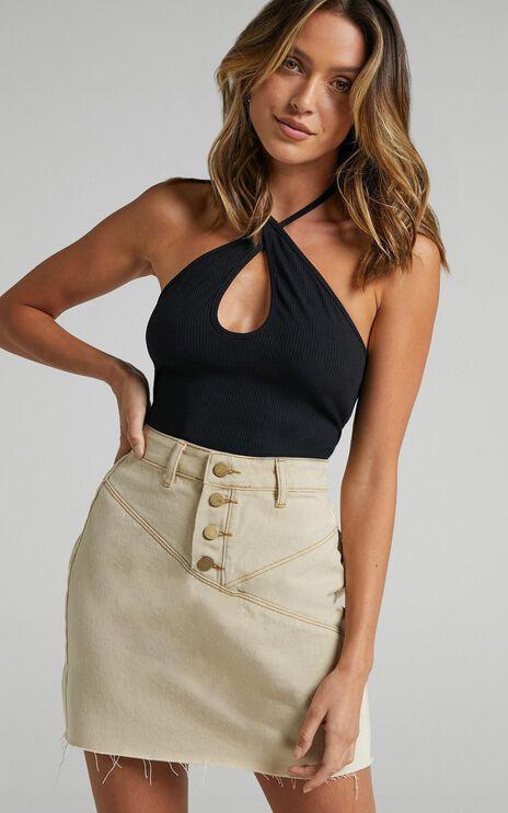 Pogue Denim Skirt in Beige