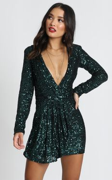 Lioness - Make The Move Dress In Emerald Green Sequin