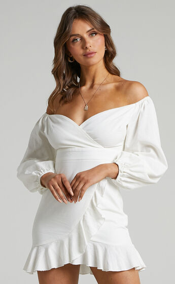 Cant Move On Off Shoulder Mini Dress in White Linen Look